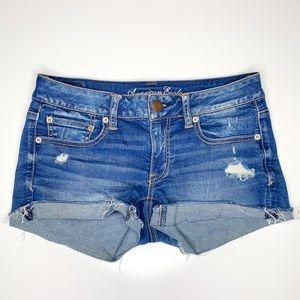 American Eagle Super Stretch Cut Off Jean Shorts